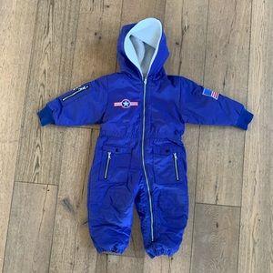 Kids blue airplane 90's sherpa snowsuit 3T